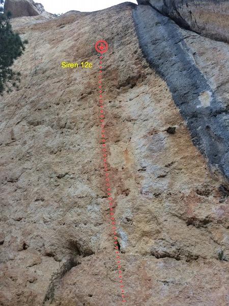 Rock Climbing Photo: Siren climbs the red streak left of the blue water...