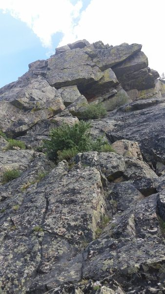 Rock Climbing Photo: Looking up at pitch 3. Fun 5.6 moves with some cra...