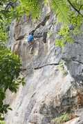 Rock Climbing Photo: At the top of the route on the FA of Sensei