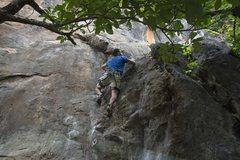 Rock Climbing Photo: The beginning crux of Sensei