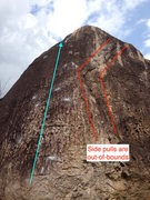 Rock Climbing Photo: Side pulls to the right are out-of-bounds