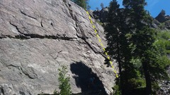 The climber being lowered is on the &quot;<a href='/v/the-spicier-8/108765735'>(the spicier 8)</a>&quot; El Squatchito is the route 20&#39; right of the black streak.