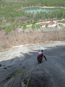 Rock Climbing Photo: Lovey heading to the upper dike belay, while Berni...