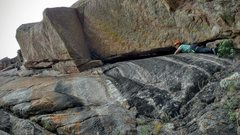 Rock Climbing Photo: The entire first pitch of Gemstone showing the loc...