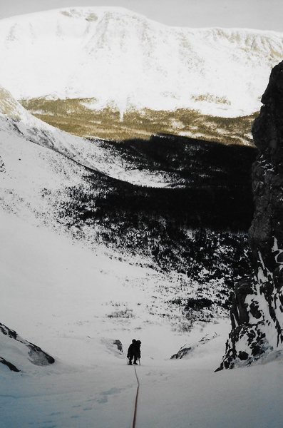 Above the crux and into the long snow climb to the Knife Edge
