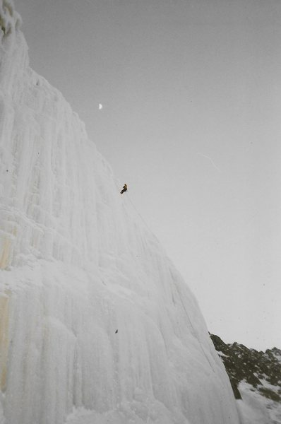 Rock Climbing Photo: Rap on the Cliff's at Night Fall, Moon in shot...