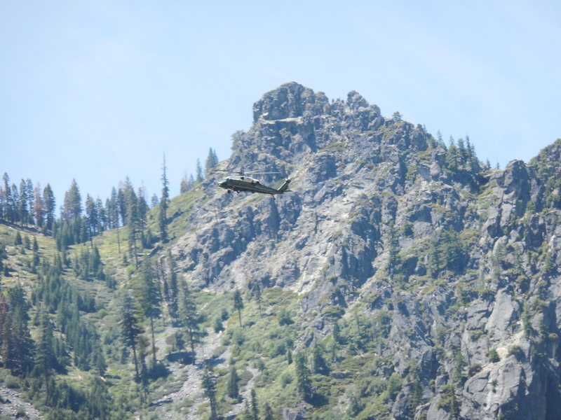 President Obama arriving in Yosemite Valley for Father's Day on Marine One.