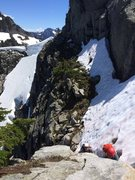 Rock Climbing Photo: Heather benches early season. Note cornice at the ...