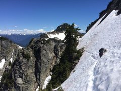 Rock Climbing Photo: Early season snow traverse, steeper in sections th...
