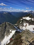 Rock Climbing Photo: Jim following up the top out, Glacier Peak in the ...