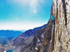 Rock Climbing Photo: Chris leading up P3