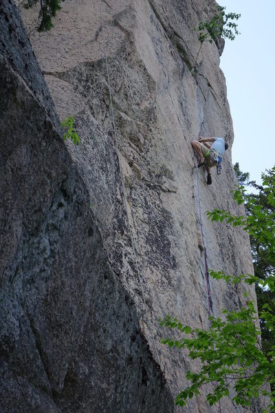 Adam - getting into the crux action of Steady Yeti