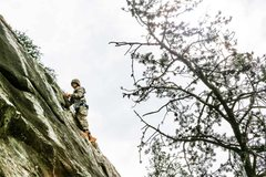 Rock Climbing Photo: Two Man Party Orange