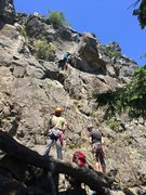 Rock Climbing Photo: Learning to lead on gear. Open Book 5.6