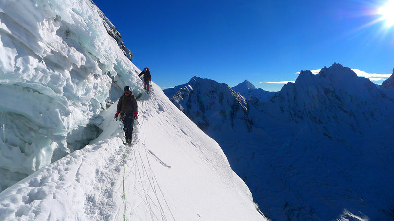 Returning to the col from the main summit.