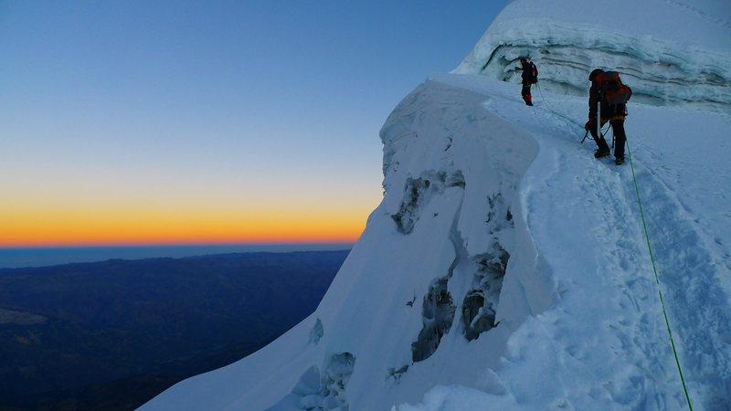 Dawn near the summit of Vallunaraju.