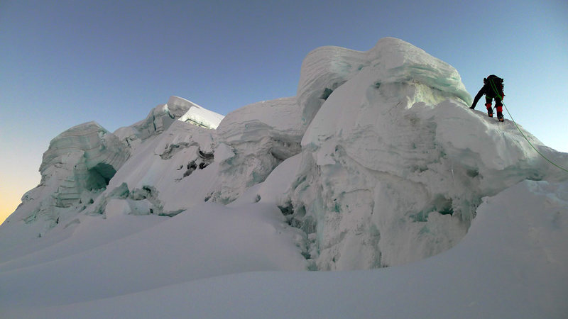 Rock Climbing Photo: Vallunaraju summit ridge.