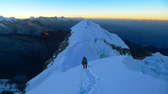 Rock Climbing Photo: Lower Vallunaraju summit as seen from partway up t...