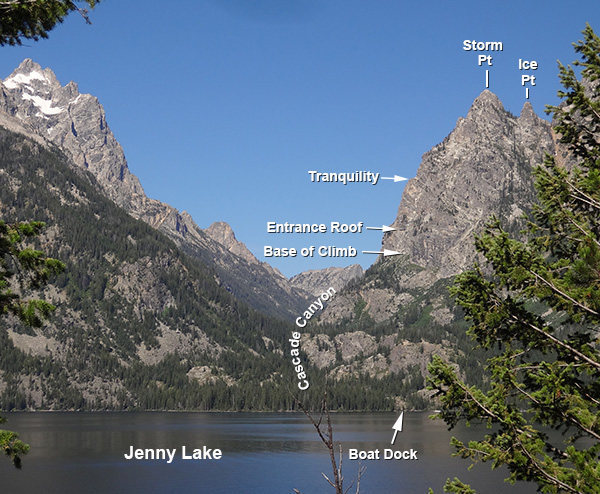 Rock Climbing Photo: View from Jenny Lake of Highway to Heaven Climb