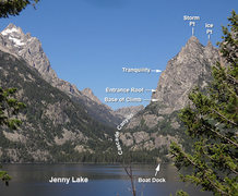 View from Jenny Lake of Highway to Heaven Climb