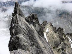 Rock Climbing Photo: Looking down the North Ridge of Stuart, halfway up...