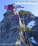 Rock Climbing Photo: Route Overlay for The Gendarme.