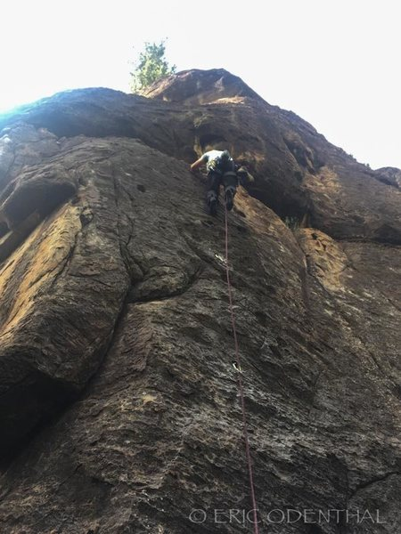 Mark on the second ascent of Evenflow 5.10