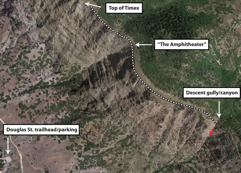 Rock Climbing Photo: Descent beta photo (for the southern/canyon descen...