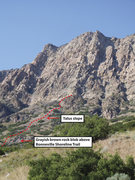 Rock Climbing Photo: View of the route from the trailhead. Red line is ...