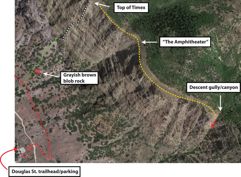 Satellite view with approach and descent beta. Red is approach trail. Green is off-trail approach. Climb is dotted white line. Yellow is walk over to the descent canyon.