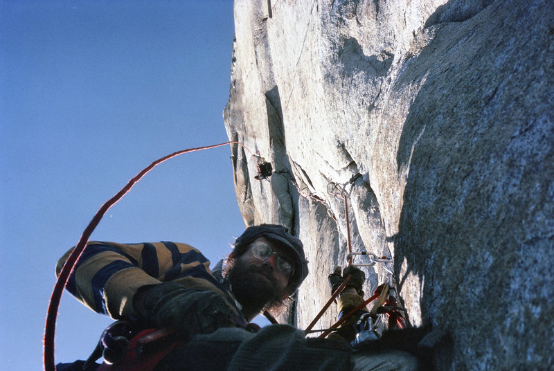 Bob Carmichael on Hip Belay Salathe Wall Headwall 1974. Michael Yaron on lead, Tory Stemph photograph...