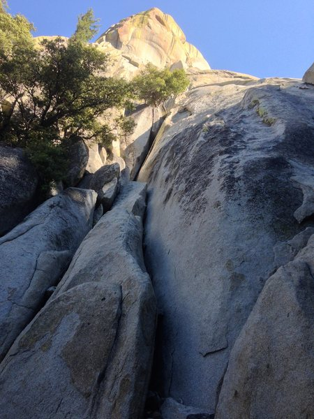 Rock Climbing Photo: Looking up at the first pitch from below the third...