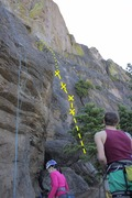 Rock Climbing Photo: The line of Trial of Tears out to the right, finer...