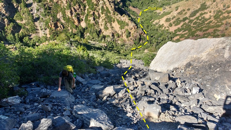 Rock Climbing Photo: The Top view of the scree approach and parking are...