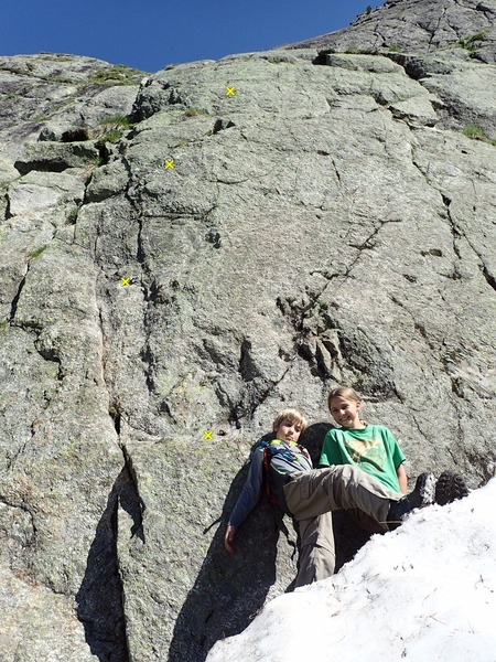 Rock Climbing Photo: Closeup of the start (plus my kids for scale).  No...