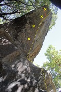 Rock Climbing Photo: Donkey dong route and bolts, red is the 12a variat...