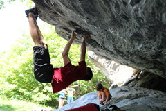 Rock Climbing Photo: Toe hook trickery on Filet of Finger.