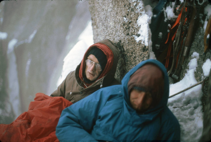 Rock Climbing Photo: bivouac on Les Doites-French Alps-1974