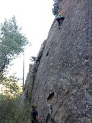 Rock Climbing Photo: This route starts in the big pockets at the base o...