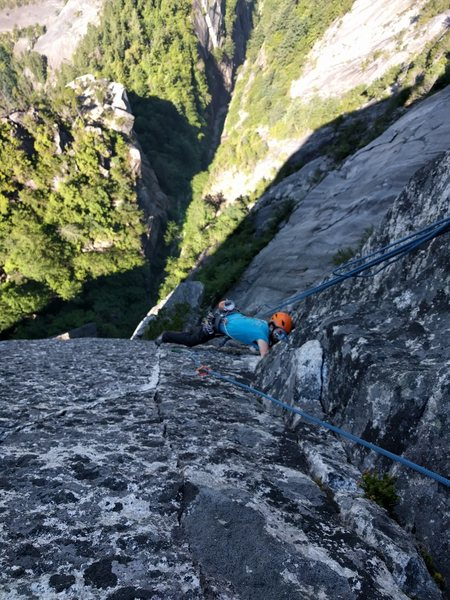 Rock Climbing Photo: Final moves on the 12d splitter pitch. Well past t...