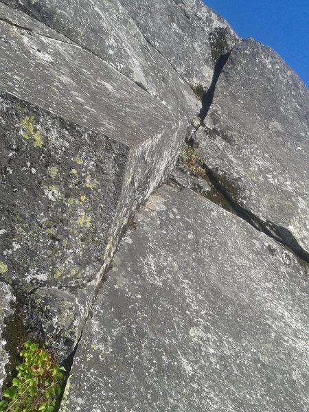 Rock Climbing Photo: Thin stuff. The upper crack doesn't take pro w...