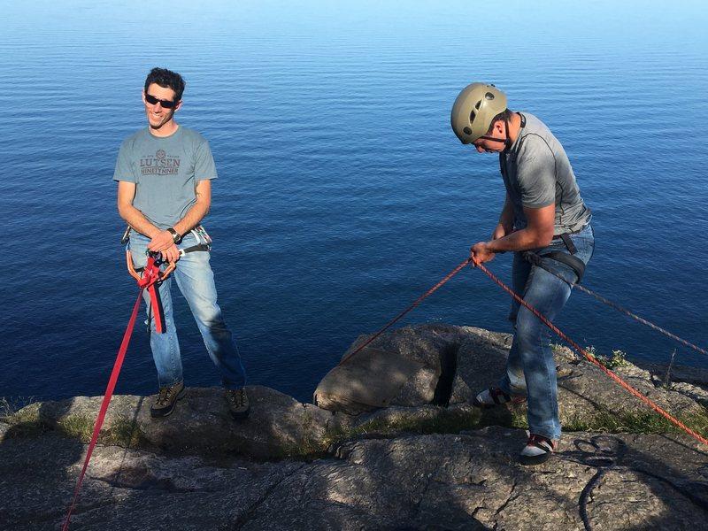 Rock Climbing Photo: Mr. Hunter watching while Gabe gets ready to climb...
