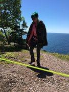 Rock Climbing Photo: Savanna dodging webbing up on Shovel Point