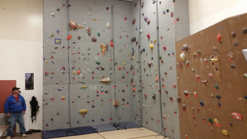 The larger portion of the Nome climbing wall.