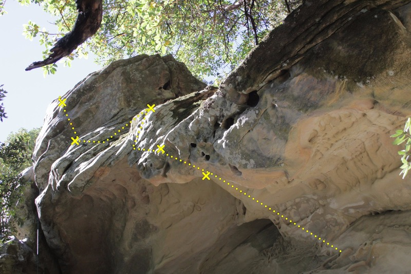 Rock Climbing Photo: Route/ bolts for Strip poker