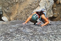 "Rock Climbing Photo: Emily heading to the second clip on the ""slab..."