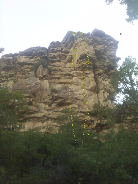 "South Face of the Rappelling Rock.  ""Touch the Tip"" on the left.  ""Gary's Bulge"" on the right.  Bolt locations are approximate."