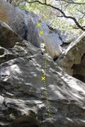 Rock Climbing Photo: Bolts and route of Krokus