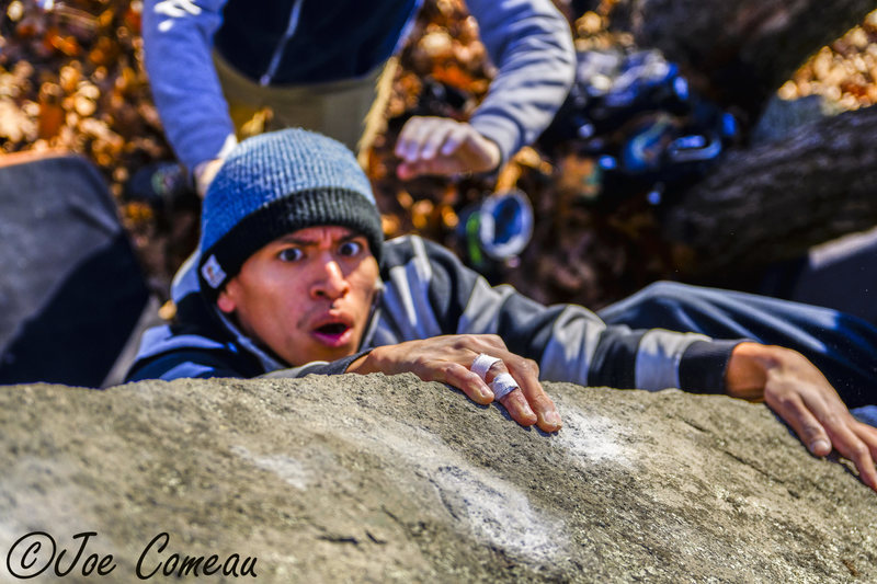 Rock Climbing Photo: Anthony Aquayza getting a feel for the Nighcrawler...