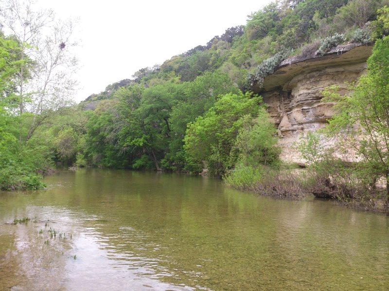 Seismic wall facing southwest/upstream